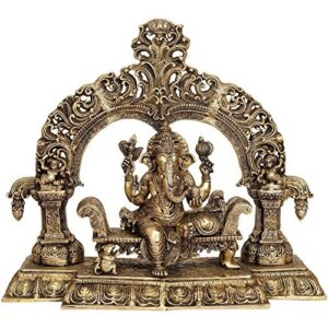 AapnoCraft Large Shrine Brass Ganesha Statue - Vintage Hindu Lord Ganesh Sculpture Designer Elephant God Figurine Heavy Idols Anniversary Gifts
