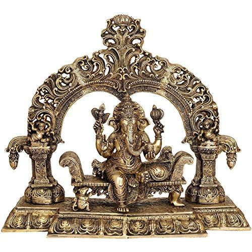 AapnoCraft Large Shrine Brass Ganesha Statue - Vintage Hindu Lord Ganesh Sculpture Designer Elephant God Figurine Heavy Idols Anniversary Gifts