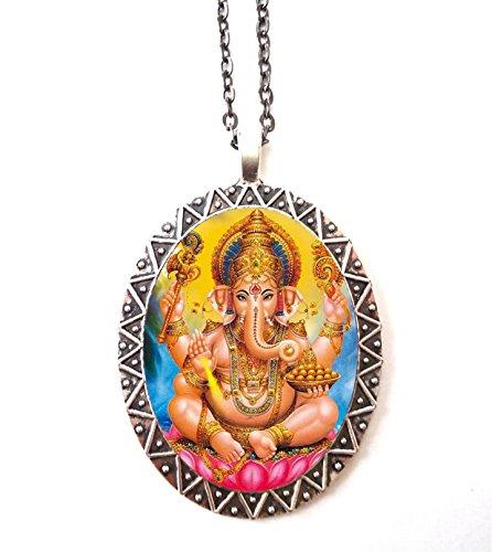 Ganesh Necklace Pendant Silver Tone Ganesha Hindu Hinduism Spiritual Spirituality Elephant