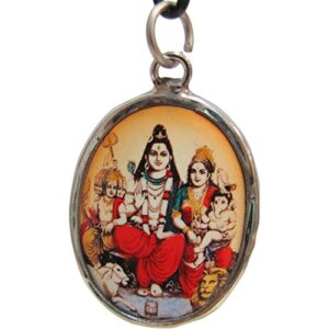 Shiva Parvati Family Reversible Om Enameled Oval Fancy White Metal Pendant w/Gift Pouch