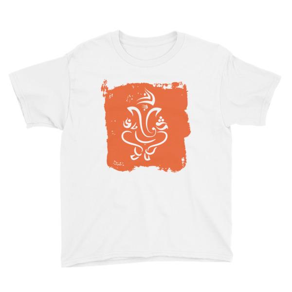 GANESH - ORANGE WHITE Youth Short Sleeve T-Shirt