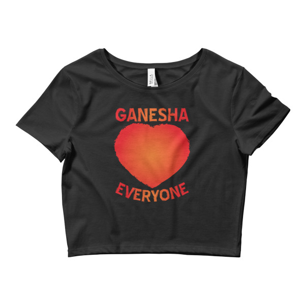 GANESHA LOVES EVERYONE RED Women's Crop Tee