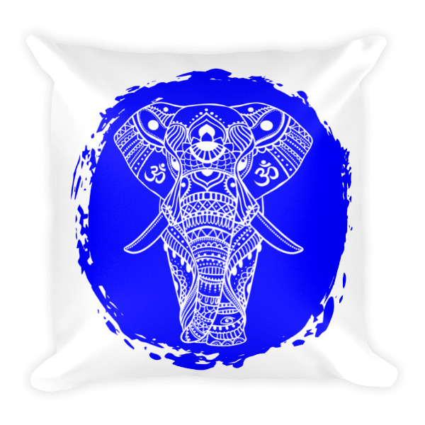 BLUE ELEPHANT GANESH Square Pillow